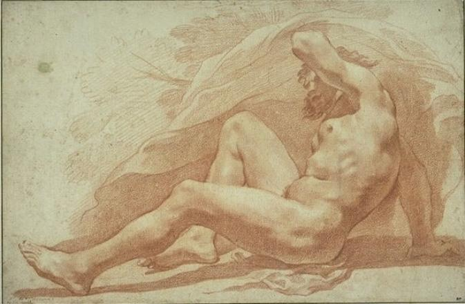 Bearded man, naked, half-lying, leaning on the right arm. by Pietro Da Cortona (1596-1669, Italy)