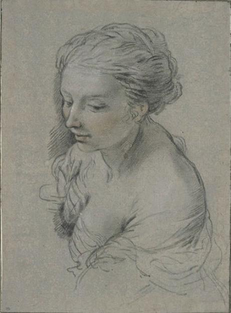 Bust of a woman in profile, head turned to the left by Pietro Da Cortona (1596-1669, Italy)