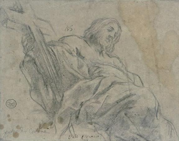 Christ draped, seated, wearing a cross in the right hand by Pietro Da Cortona (1596-1669, Italy)