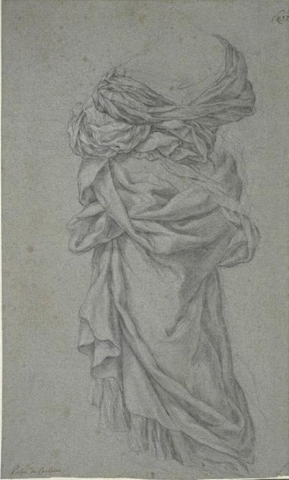 Drapery of woman, rear view by Pietro Da Cortona (1596-1669, Italy)