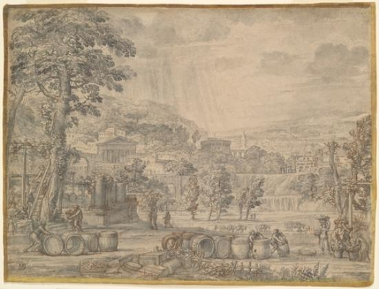 Landscape with Wine Harvest by Pietro Da Cortona (1596-1669, Italy)