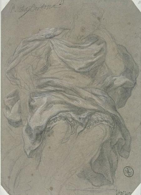 Man draped seated, front view, head turned to the right. August by Pietro Da Cortona (1596-1669, Italy)