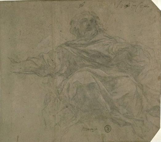 Man draped, seated front view. God the Father by Pietro Da Cortona (1596-1669, Italy)