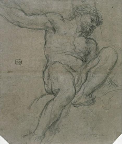 Naked man sitting, left leg raised and bent by Pietro Da Cortona (1596-1669, Italy)