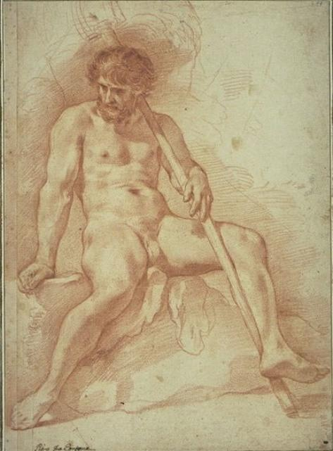 Naked man, seated, legs apart, a stick in his left hand by Pietro Da Cortona  (buy Fine Art Framed Print Pietro Da Cortona)