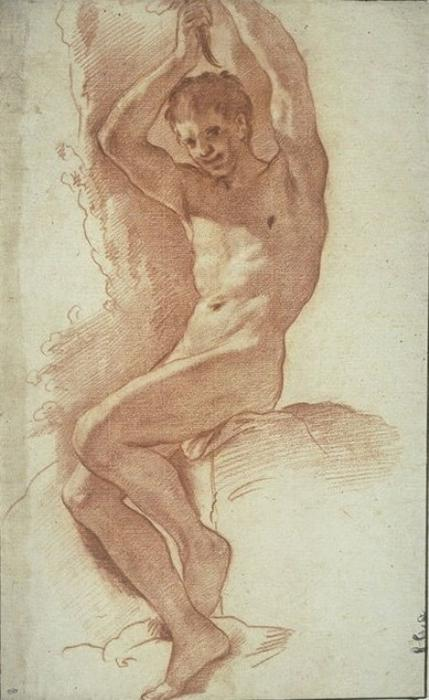 Naked man, seated, with arms raised by Pietro Da Cortona (1596-1669, Italy)