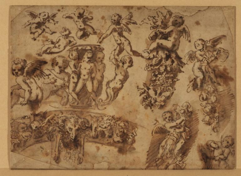 Sheet of studies of ornamental motifs by Pietro Da Cortona (1596-1669, Italy)