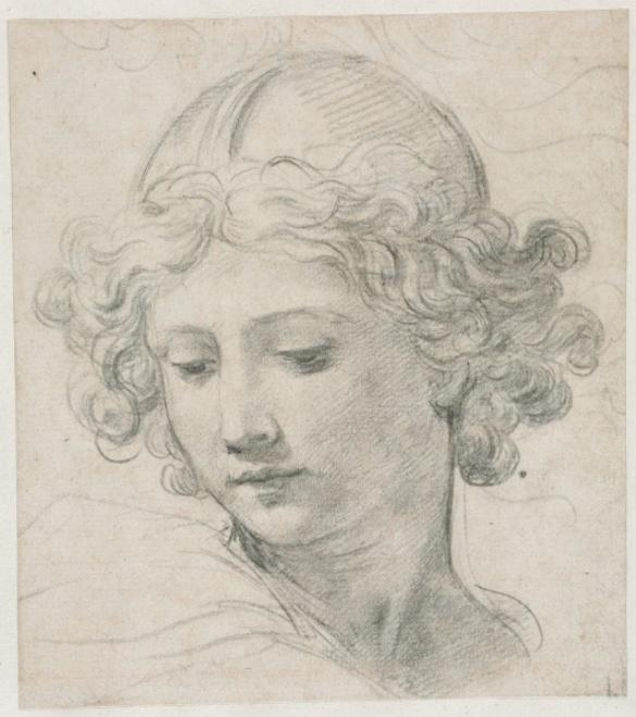 Study for the Head of St. Michael by Pietro Da Cortona (1596-1669, Italy)
