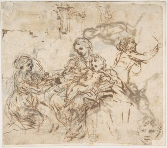 The Virgin and Child with Saint Martina, Another Study of Saint Martina, Studies of a Head, and of an Arcade by Pietro Da Cortona (1596-1669, Italy)