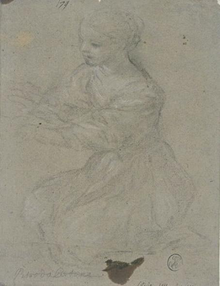 Young girl on her knees, to three quarts, turned to the left by Pietro Da Cortona (1596-1669, Italy)