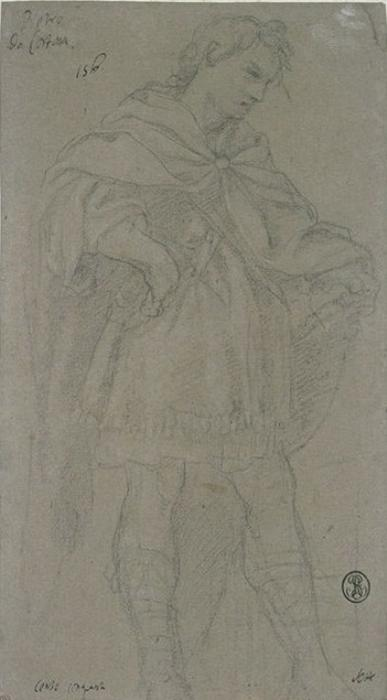 Young man standing wearing a short tunic and a mantle by Pietro Da Cortona (1596-1669, Italy)
