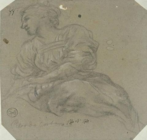 Young woman sitting, facing left by Pietro Da Cortona (1596-1669, Italy)
