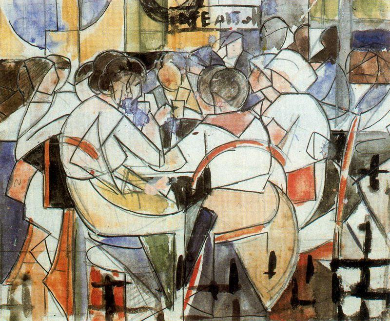 People in the coffee (study) by Rafael Barradas (1890-1929, Uruguay) | Art Reproduction | ArtsDot.com