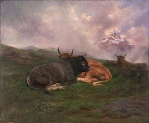 Rosa Bonheur - Cattle at Rest on a Hillside in the Alps