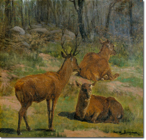 Deer at Fountainebleau by Rosa Bonheur (1822-1899, France)