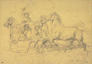 Rosa Bonheur - Five horses at the trot, led by a man