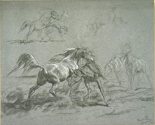 Horses fighting by Rosa Bonheur (1822-1899, France) | Painting Copy | ArtsDot.com