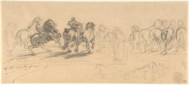 Sheet of Studies for ''The Horse Fair'' by Rosa Bonheur (1822-1899, France) | ArtsDot.com