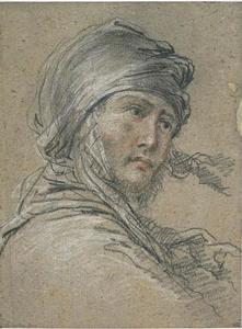 Salvator Rosa - Man-s head, wearing a turban, three-quarters to the right