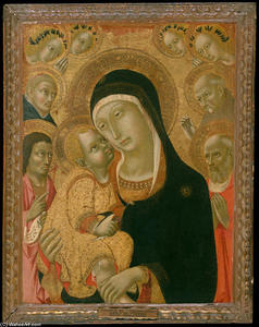 Sano Di Pietro - Madonna and Child with Saints John the Baptist, Jerome, Peter Martyr, and Bernardino and Four Angels