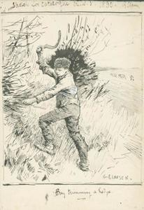 George Clausen - Drawing after -Boy Trimming a Hedge-