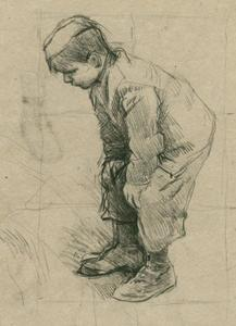 George Clausen - Study of the figure of a small boy for -Boys Making a Fire-