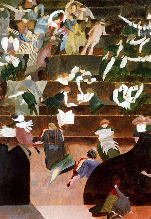 A Music Lesson at Bedales by Stanley Spencer (1891-1959, United Kingdom) | Museum Art Reproductions | ArtsDot.com