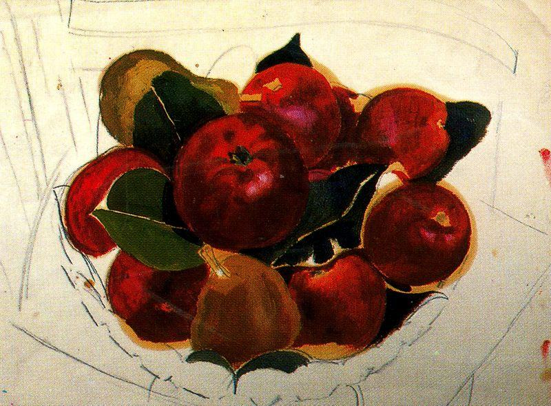 Apples and Pears on a Chair by Stanley Spencer (1891-1959, United Kingdom)
