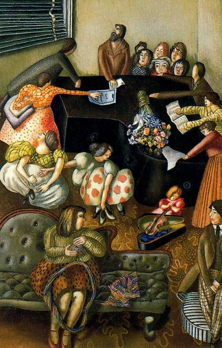 At the Piano by Stanley Spencer (1891-1959, United Kingdom)