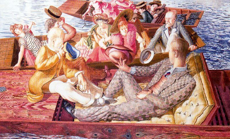 Christ Preaching at Cookham Regata. Punts Meeting by Stanley Spencer (1891-1959, United Kingdom) | ArtsDot.com