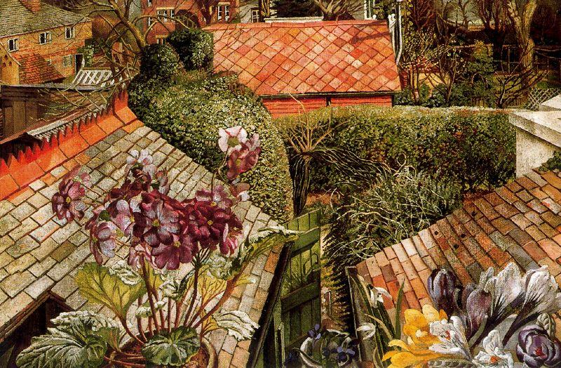 Cookham. Flowers in a Window by Stanley Spencer (1891-1959, United Kingdom)