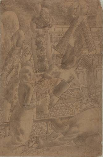 Drawing for Right Panel of `Resurrection. Rejoicing' by Stanley Spencer (1891-1959, United Kingdom)