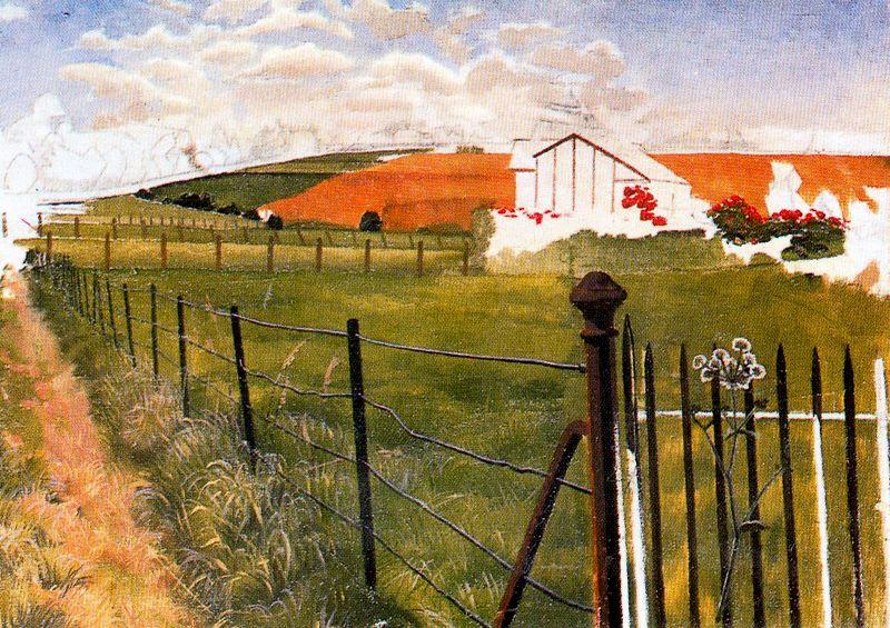 Extensive Landscape with a wroght-iron gat by Stanley Spencer (1891-1959, United Kingdom)