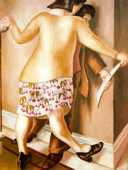 On the Landing or Looking at a Drawing by Stanley Spencer (1891-1959, United Kingdom) | ArtsDot.com