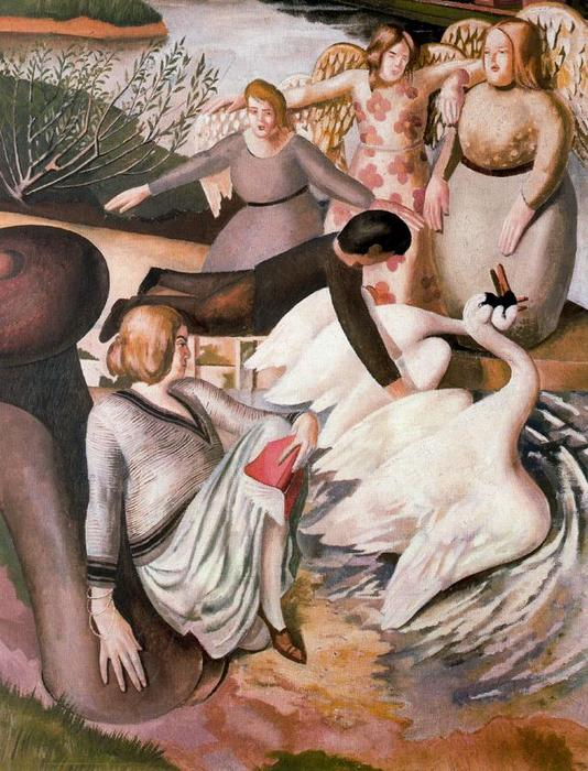 Separating Fighting Swans by Stanley Spencer (1891-1959, United Kingdom) | Museum Art Reproductions | ArtsDot.com