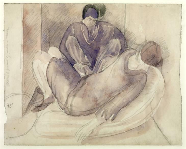 Study for Double Nude Portrait. the Artist and his Second Wife by Stanley Spencer (1891-1959, United Kingdom)