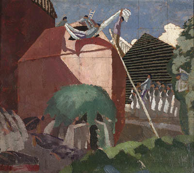 The Paralytic Being Let into the Top of the House on his Bed by Stanley Spencer (1891-1959, United Kingdom) | Museum Quality Reproductions | ArtsDot.com
