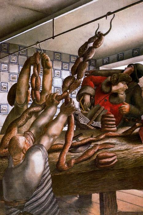 The Sausage shop by Stanley Spencer (1891-1959, United Kingdom)