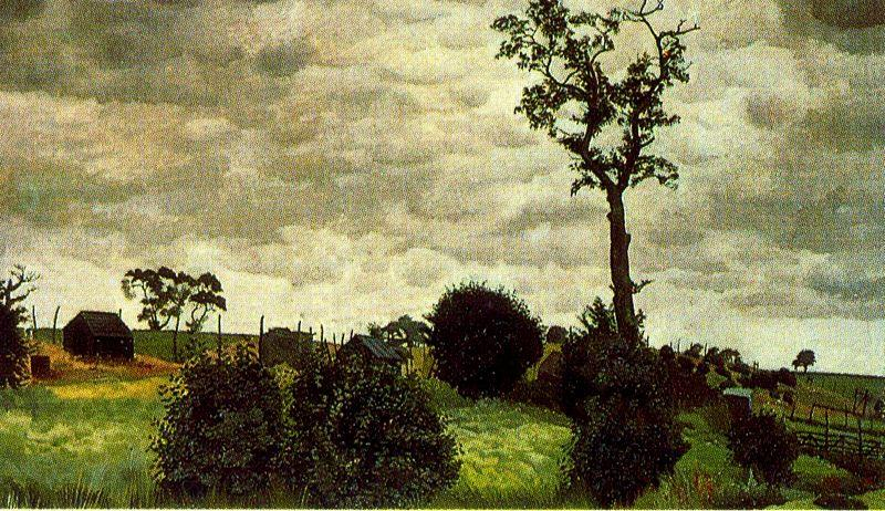Tree and Chicken Coops, Wangford by Stanley Spencer (1891-1959, United Kingdom) | Museum Art Reproductions | ArtsDot.com