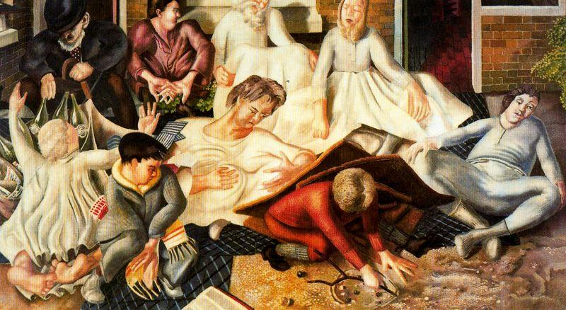 Villagers and Saints 1 by Stanley Spencer (1891-1959, United Kingdom)