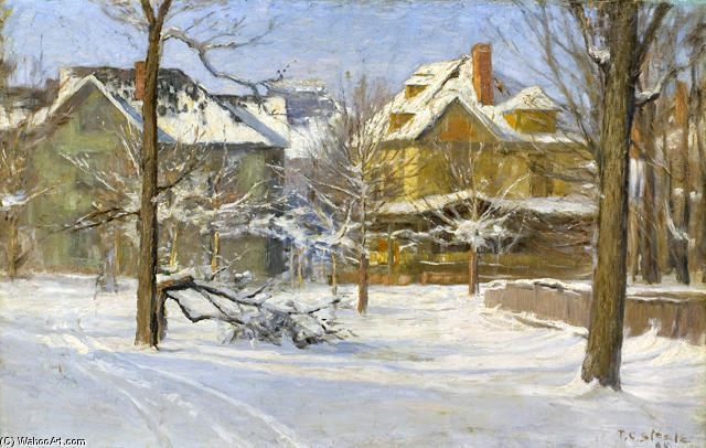 16th Street, Indianapolis in Snow by Theodore Clement Steele (1847-1926, United States) | ArtsDot.com