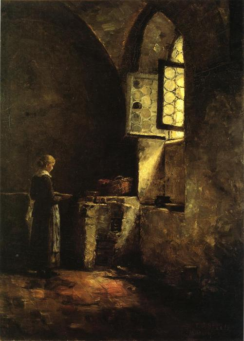 A Corner in the Old Kitchen of the Mittenheim Cloister, Oil On Canvas by Theodore Clement Steele (1847-1926, United States)