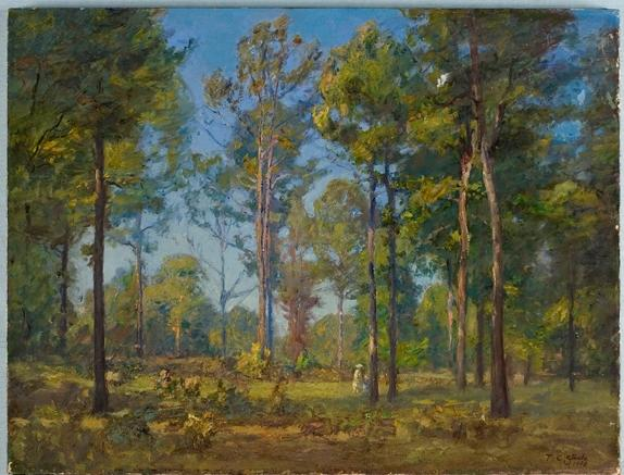 A Stroll Through the Woods (Blue Sky) by Theodore Clement Steele (1847-1926, United States) | Museum Art Reproductions | ArtsDot.com