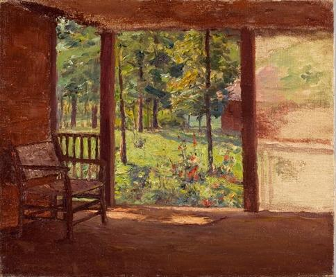 A View from the Porch by Theodore Clement Steele (1847-1926, United States) | Art Reproduction | ArtsDot.com