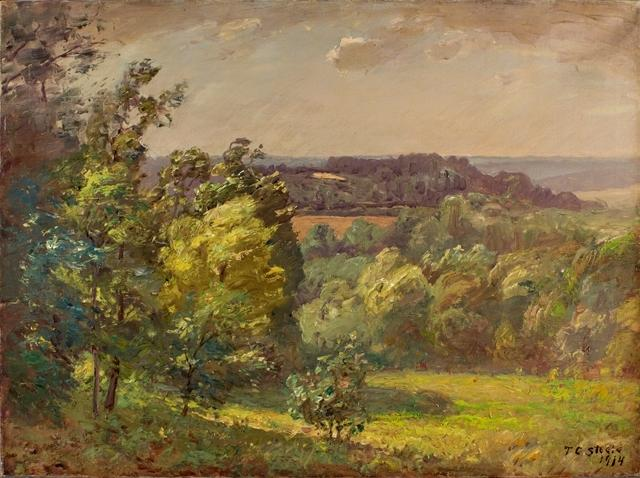 Across the Valley (Salt Creek, A Windy Day) by Theodore Clement Steele (1847-1926, United States)