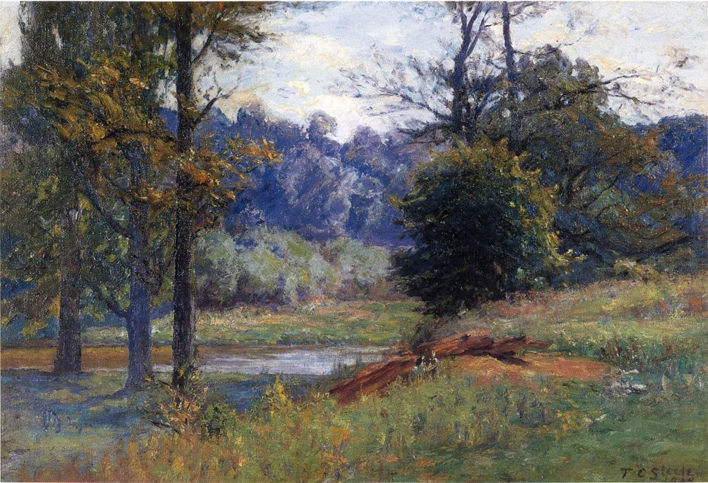 Along the Creek (aka Zionsville) by Theodore Clement Steele (1847-1926, United States)