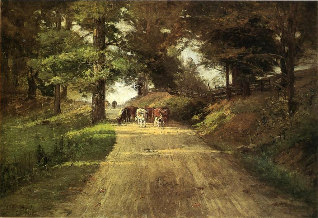 An Indiana Road, Oil On Canvas by Theodore Clement Steele (1847-1926, United States)