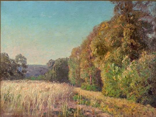 At the Edge of the Field (Orchard in Summer) by Theodore Clement Steele (1847-1926, United States)