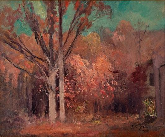 Autumn Wooded Scene by Theodore Clement Steele (1847-1926, United States)