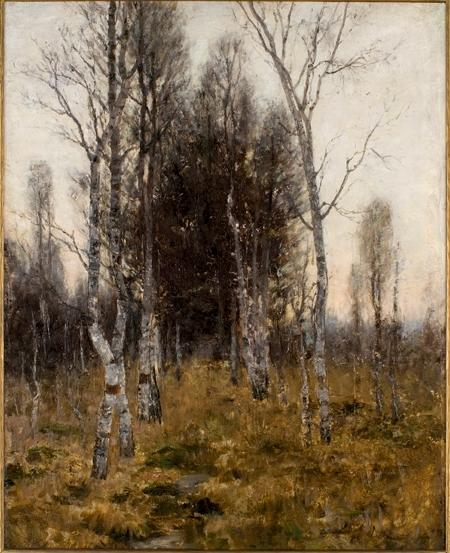 Birches by Theodore Clement Steele (1847-1926, United States)